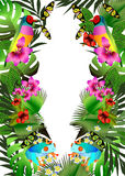 Tropical flowers and leaves and beautiful butterfly, bird and fr Stock Photo