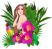 Tropical flowers and leaves and beautiful woman Stock Photos