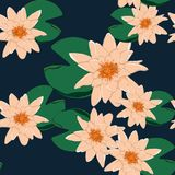 Tropical flowers, leaves, orange lotus, seamless floral pattern background vector illustration