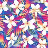 Tropical flowers with leaves seamless pattern Royalty Free Stock Images