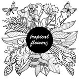 Tropical Flowers Mock Up. Outline composition for coloring pages, postcards, textile prints Stock Images