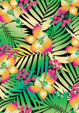 Tropical flowers with palms Stock Photography