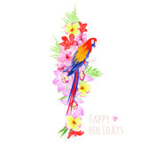 Tropical flowers and parrot vector design set Stock Photos