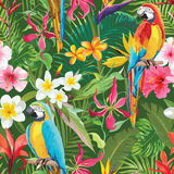 Tropical Flowers and Parrots Seamless Floral Summer Pattern Stock Photo