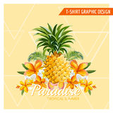 Tropical Flowers and Pineapple Graphic Design Stock Image