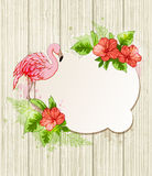 Tropical flowers and pink flamingo Stock Image