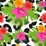 Tropical flowers, plants, leaves and animal skin seamless pattern. Summer Endless floral background. Paradise repeating Royalty Free Stock Photo