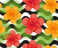 Tropical flowers, plants, leaves and animal skin seamless pattern. Summer Endless floral background. Paradise repeating Royalty Free Stock Image