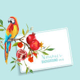 Tropical Flowers, Pomegranates and Parrot Bird Graphic Design Royalty Free Stock Photography