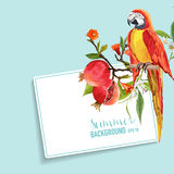 Tropical Flowers, Pomegranates and Parrot Bird Graphic Design Stock Image