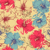 Tropical flowers seamless pattern Stock Photo