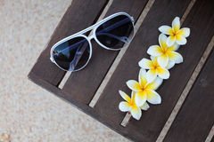 Tropical flowers and sunglasses on the bench Royalty Free Stock Photos