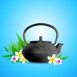 Tropical flowers and teapot Royalty Free Stock Image