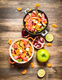 Tropical food. Fresh salad of exotic fruits. Stock Images