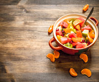 Tropical food. Fresh salad of exotic fruits. Stock Image