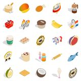 Tropical food icons set, isometric style. Tropical food icons set. Isometric set of 25 tropical food vector icons for web isolated on white background Stock Photos