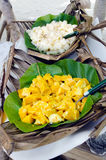 Tropical food served outdoor in Aitutaki Lagoon Cook Islands Royalty Free Stock Photography