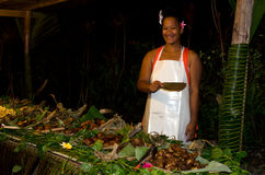 Tropical food served outdoor in Aitutaki Lagoon Cook Islands Royalty Free Stock Photo