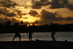 Tropical football and sunset moment. Royalty Free Stock Photos