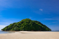 Tropical forest at the end of paradise sand beach Royalty Free Stock Image