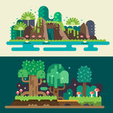 Tropical and  forest landscapes. Magical nature. Backgrounds for game. Vector flat illustrations Stock Images