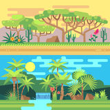 Tropical forest landscapes vector flat illustration Royalty Free Stock Images