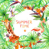 Tropical forest leaves, exotic flowers, flamingo, giraffe. Wildlife card, poster design. Watercolor royalty free illustration