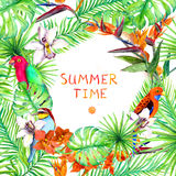 Tropical forest leaves, exotic flowers, parrot birds. Summer card or poster design. Watercolor. Tropical forest leaves, exotic flowers, parrot birds. Summer Royalty Free Stock Image