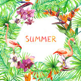 Tropical forest leaves, flamingo, exotic flowers. Jungle card or poster design. Watercolor vector illustration