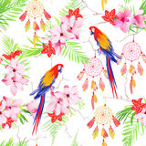 Tropical forest parrots and dreamcatchers seamless vector print Stock Photography