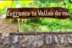 Tropical forest in Valle de Mai entrance, Praslin, Seychelles.  royalty free stock image