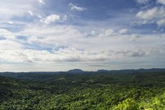 Tropical forest in the valley, with hills in the background, against the background of the sky and clouds view from the heights. The province of Matanzas, Cuba Royalty Free Stock Photos