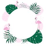 Tropical frame circle leaves and Flamingo Summer Banner, Graphic Background, Exotic Floral Invitation, Flyer or Card. Hand draw