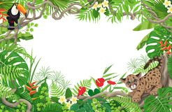 Tropical Frame with Cougar Cub and Toucan Royalty Free Stock Photo