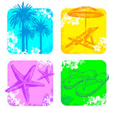 Tropical frame with hand drawn objects Stock Photos