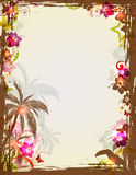 Tropical frame with palms and toucan Royalty Free Stock Images