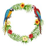 Tropical frame with parrots. Stock Illustration
