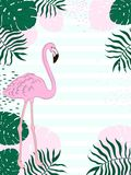 Tropical frame rectangular leaves and Flamingo Summer Banner, Graphic Background, Exotic Floral Invitation, Flyer or Card. Hand draw