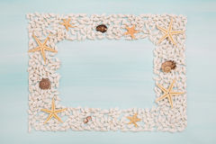 Tropical frame of starfish and shells for maritime decoration in Stock Photo