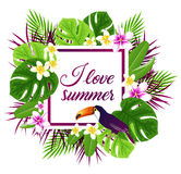 Tropical frame with toucan Stock Photo