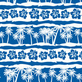 Tropical frangipani with beach palms seamless pattern Royalty Free Stock Image