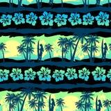 Tropical frangipani with green sunrise seamless pattern.  Stock Image