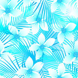 Tropical frangipani hibiscus with palms seamless pattern Stock Photo