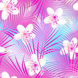 Tropical frangipani hibiscus with pink palms seamless pattern Royalty Free Stock Photography