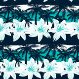 Tropical frangipani with palms and stripes seamless pattern Stock Images
