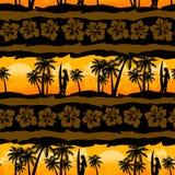 Tropical frangipani with palms sunrise seamless pattern Stock Photography