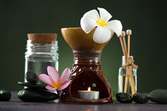 Tropical frangipani spa health treatment with aroma therapy and Royalty Free Stock Photography