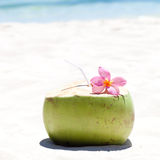 Tropical fresh cocktail on white beach Royalty Free Stock Image