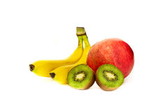 Tropical Fresh Fruits. On white background stock image