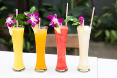 Tropical fresh juices Stock Images